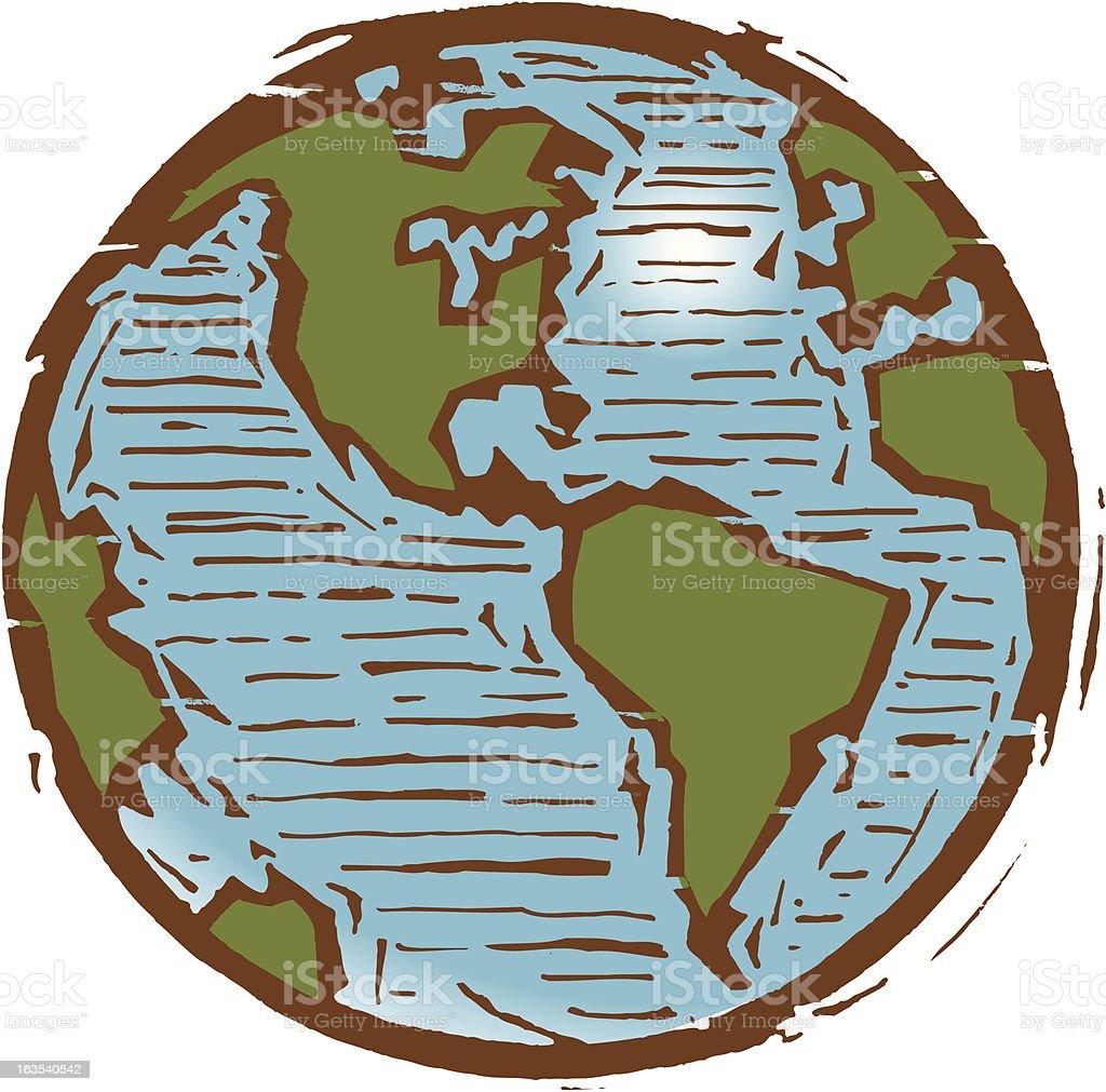 Scratchboard Western Hemisphere royalty-free stock vector art