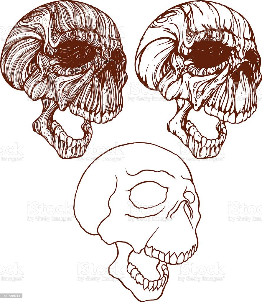 Screaming Skulls - Royalty-free Color Image stock vector