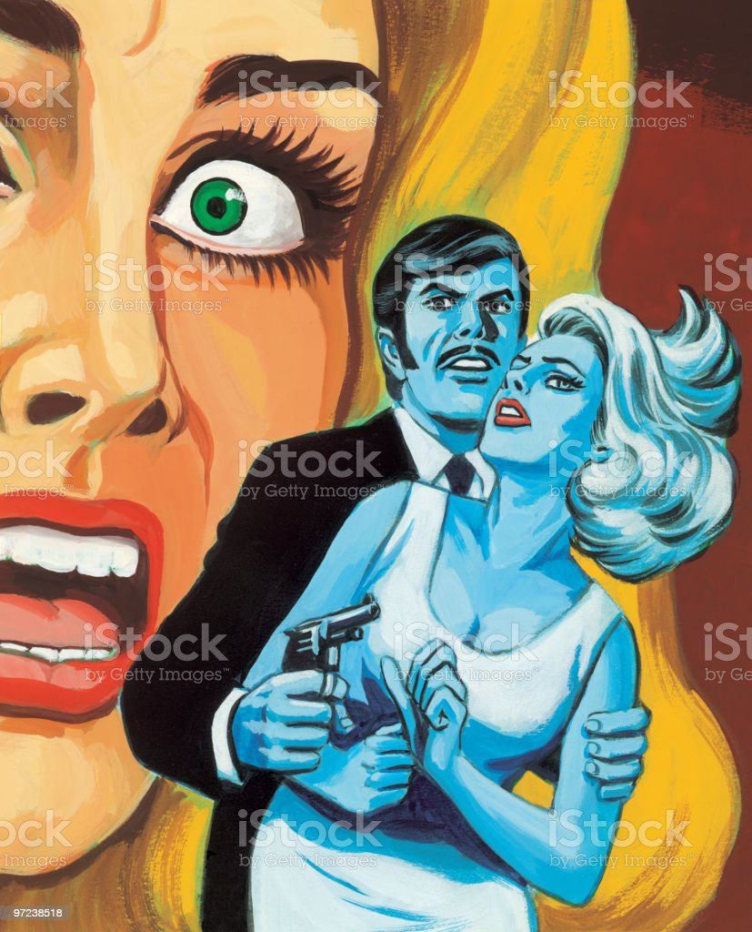 Screaming Woman and Couple royalty-free stock vector art