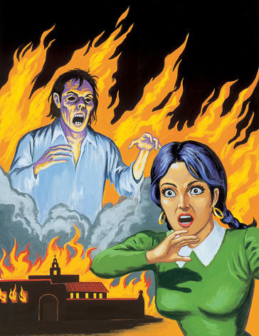 Screaming Woman and Zombie in Flames