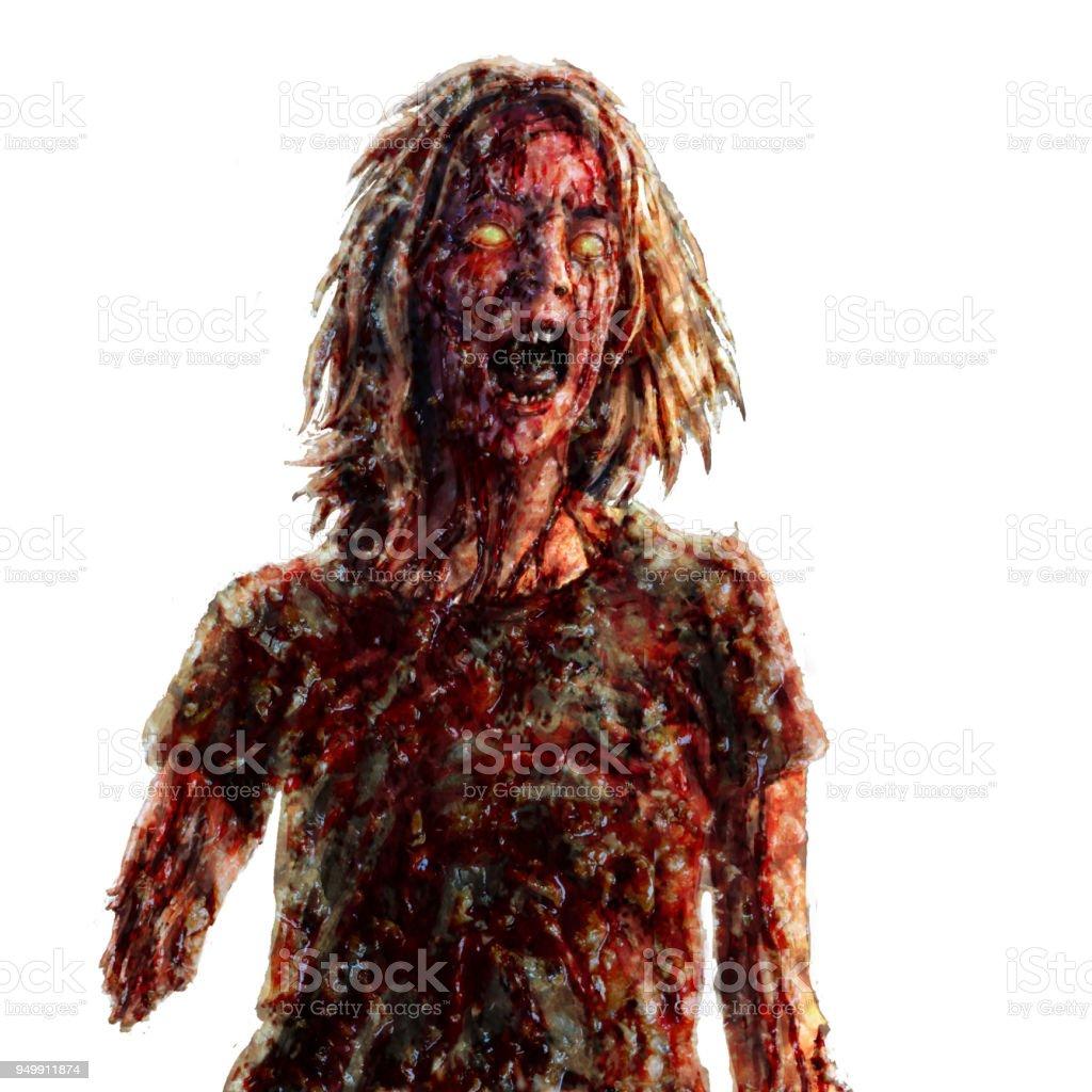 Screaming zombie woman illustration vector art illustration