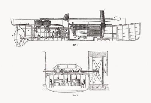 Screw and Paddle steamer, wood engravings, published in 1893
