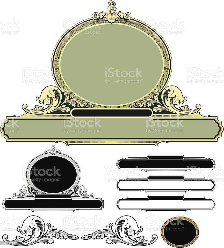 Scroll and oval  panel design (Vector) royalty-free stock vector art