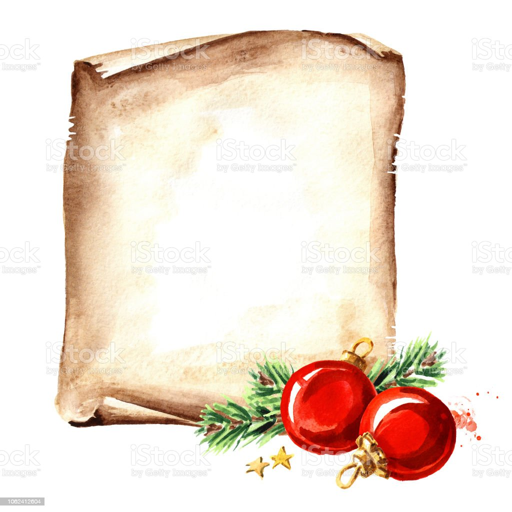 scroll of old paper with christmas red balls new year card template watercolor hand
