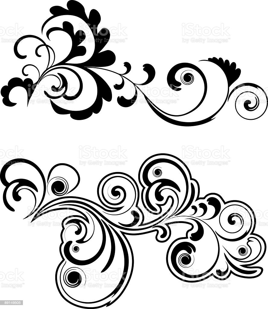 Scroll V royalty-free stock vector art