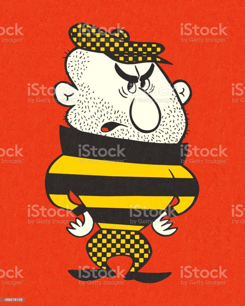 Scruffy Man vector art illustration