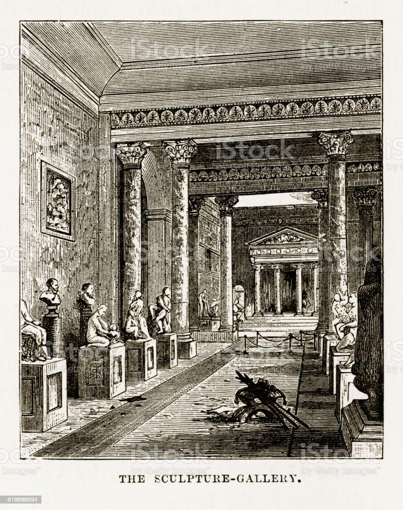Sculpture Gallery, Woburn Abbey, Woburn, England Victorian Engraving, Circa 1840 vector art illustration