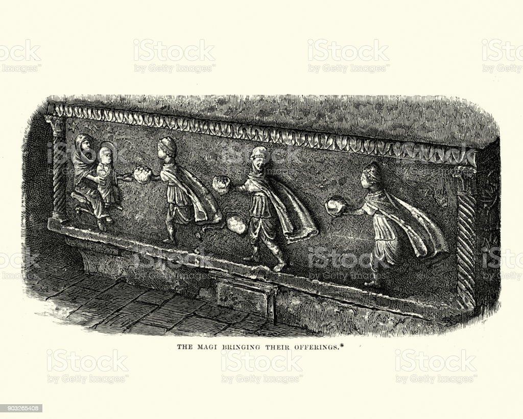 Sculpture of the Three Wise Men bringing offerings vector art illustration