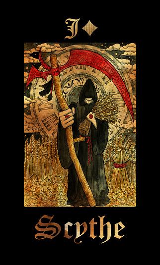 Scythe. Card of Lenormand oracle deck Gothic Mysteries.