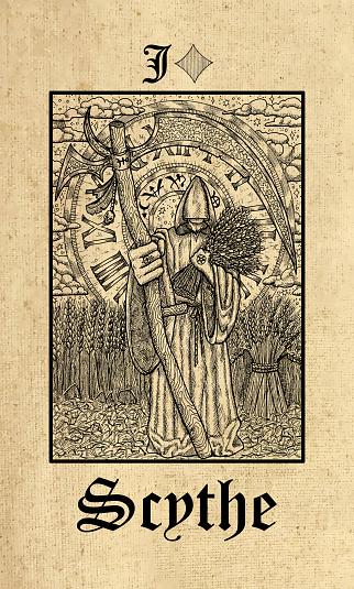 Scythe. Tarot card from Lenormand Gothic Mysteries oracle deck