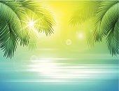 Vector illustration - Sea and palm landscape