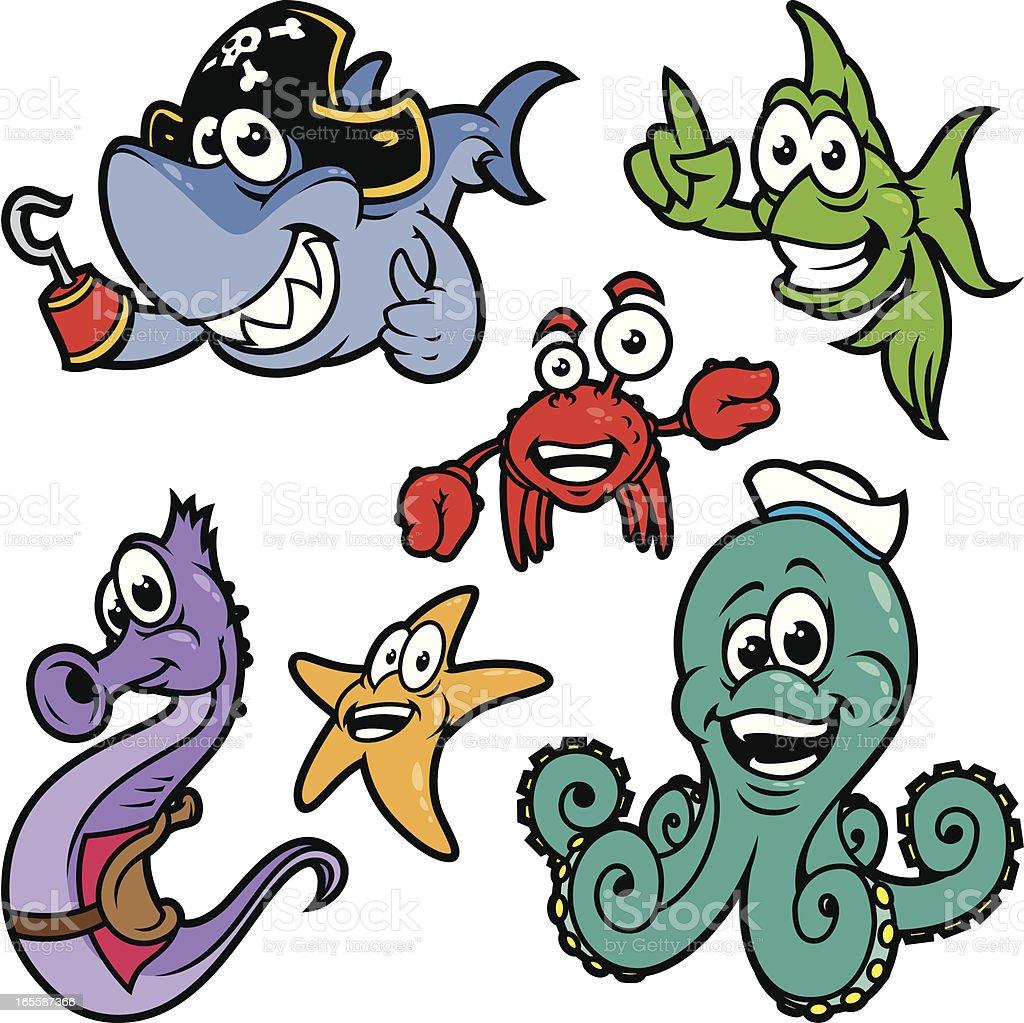 sea animals color stock vector art 165587366 istock