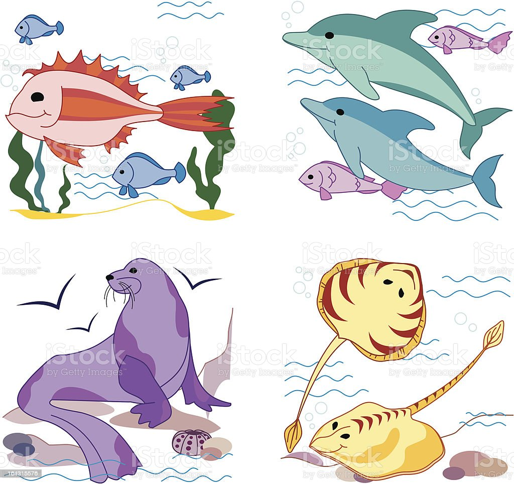 Sea animals part 2 royalty-free stock vector art