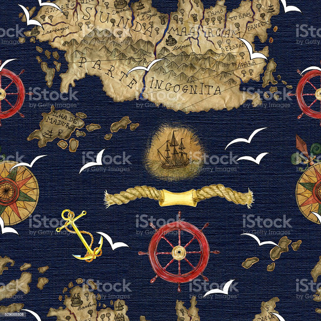 Sea background with anchor, compass and pirate map details vector art illustration