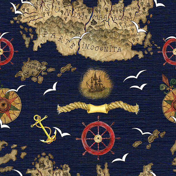 sea background with anchor, compass and pirate map details - treasure map backgrounds stock illustrations