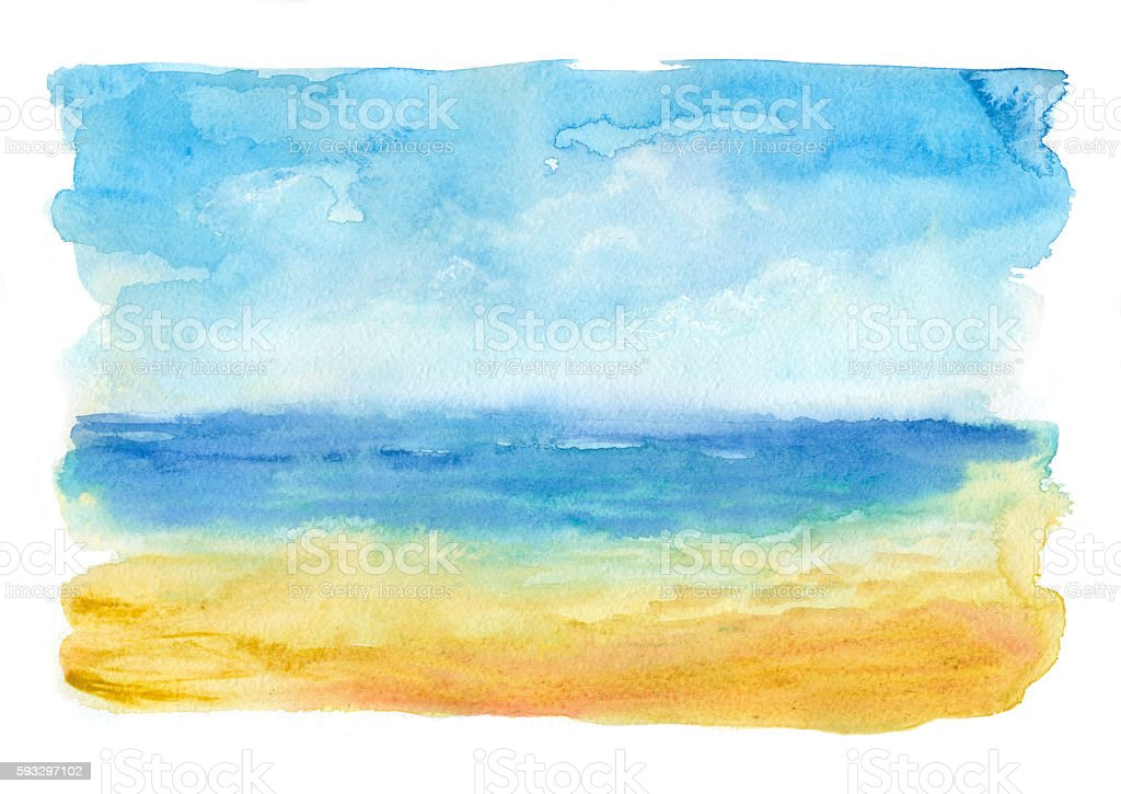 sea beach, watercolor painting vector art illustration