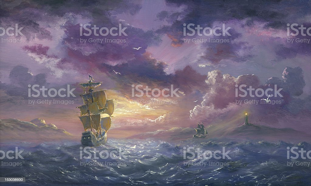 Sea Evening Excited vector art illustration