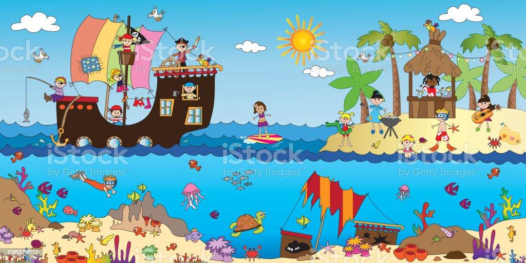 sea landscape vector art illustration
