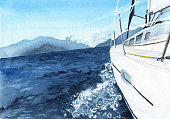 Sea landscape with boat. Watercolor illustration for design