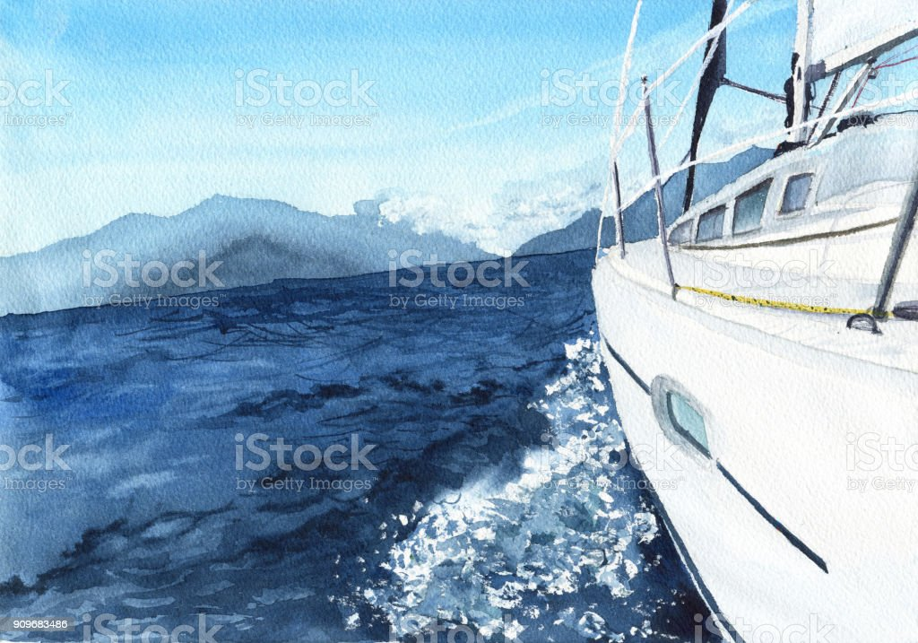 ボートで海の風景です。水彩イラスト ベクターアートイラスト