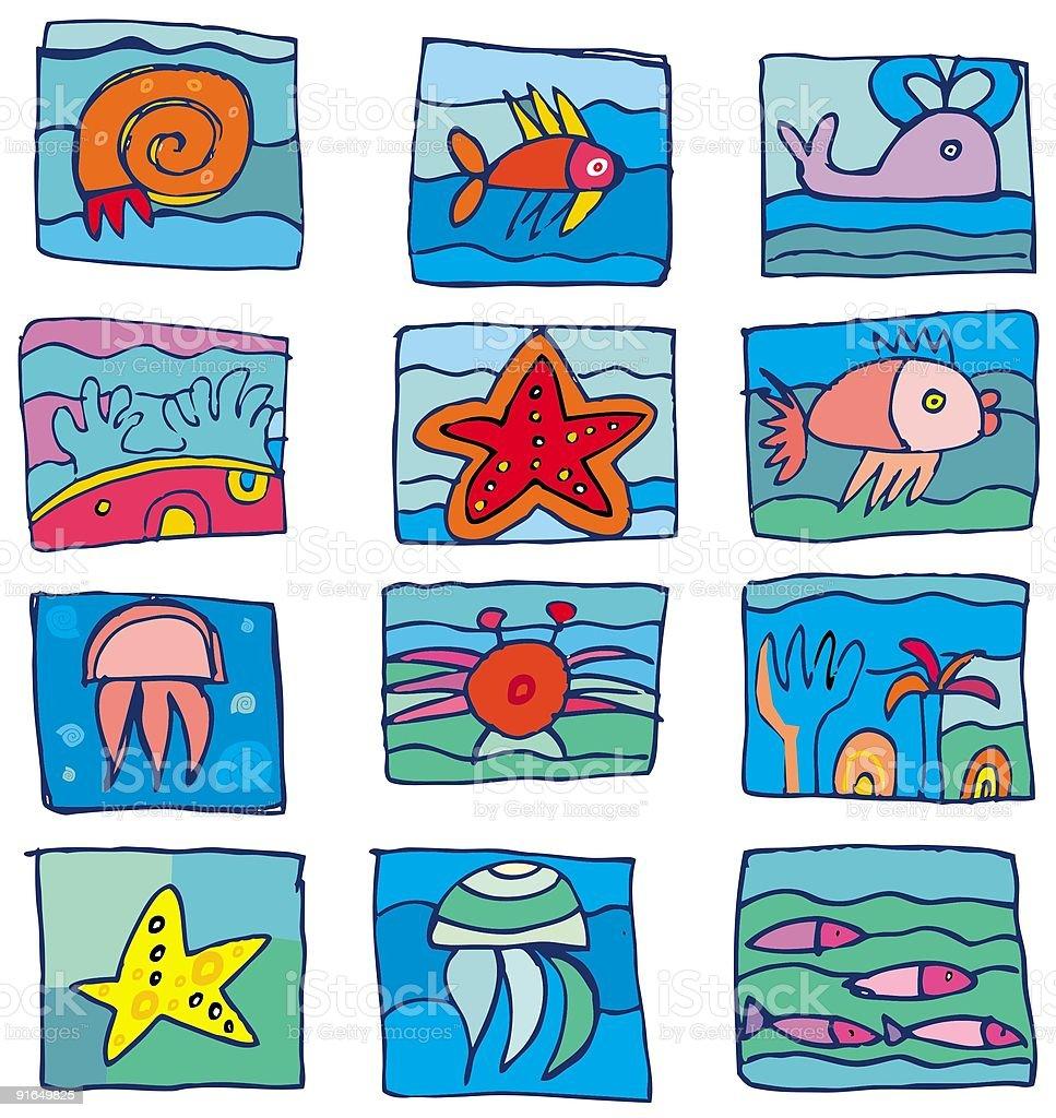 sea marine underwater icons royalty-free stock vector art