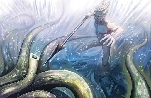 Sea Monster, Kraken, Cthulhu Hunting, Spear Sailor Attacks