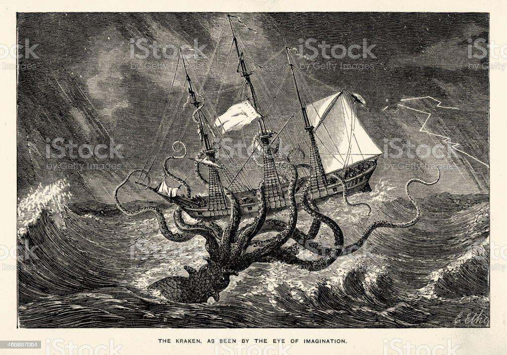 Sea monster - Kraken Seen by the Eye of Imagination vector art illustration