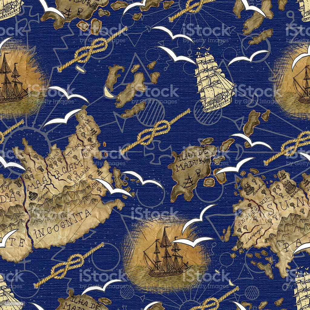Mar patrón con Mapa de pirata Detalles - ilustración de arte vectorial