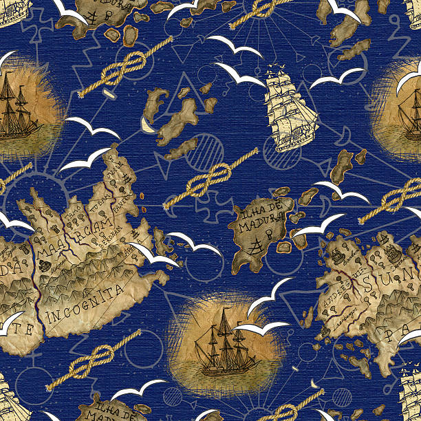 sea pattern with pirate map details - treasure map backgrounds stock illustrations