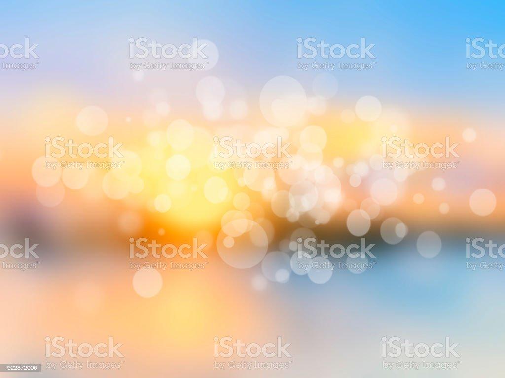 Sea shore horizon landscape illustration blurred background vector art illustration