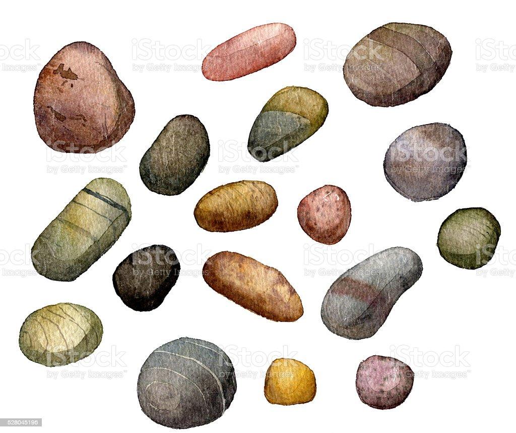 Piedras dibujo en acuarela al mar arte vectorial de - Dibujos de piedras ...