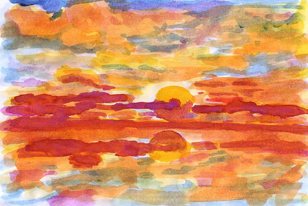 stockillustraties, clipart, cartoons en iconen met sea sunset - hdri landscape