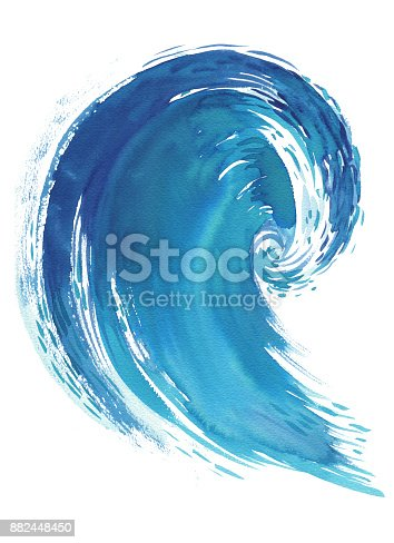 911585920 istock photo Sea wave. Abstract watercolor hand drawn illustration, Isolated on white background 882448450