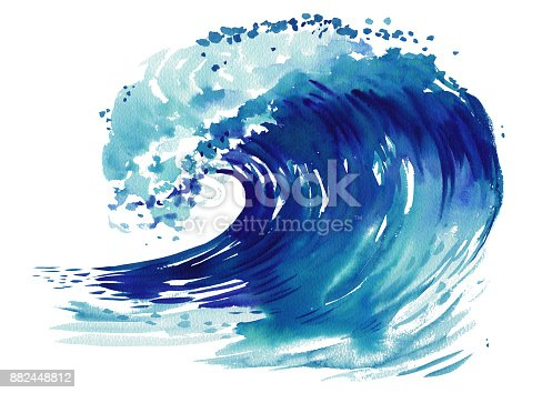 911585920 istock photo Sea wave. Abstract watercolor hand drawn illustration, Isolated on white background 882448812