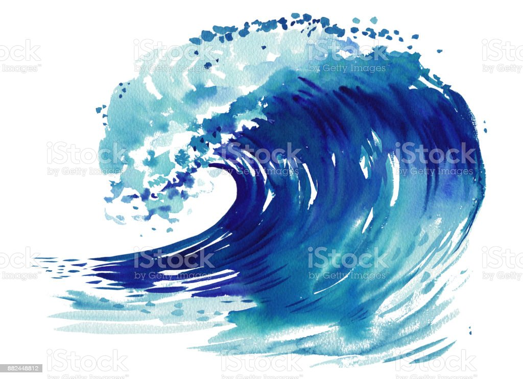Sea wave. Abstract watercolor hand drawn illustration, Isolated on white background vector art illustration