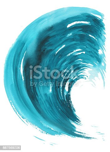 911585920 istock photo Sea wave. Abstract watercolor hand drawn illustration, Isolated on white background 887569206