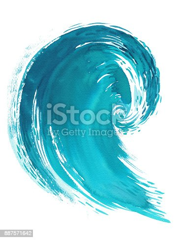 911585920 istock photo Sea wave. Abstract watercolor hand drawn illustration, Isolated on white background 887571642