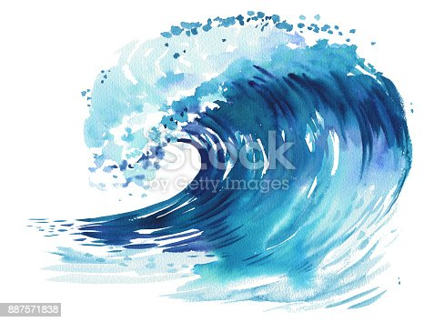 911585920 istock photo Sea wave. Abstract watercolor hand drawn illustration, Isolated on white background 887571838