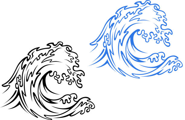 sea wave - tidal wave stock illustrations, clip art, cartoons, & icons