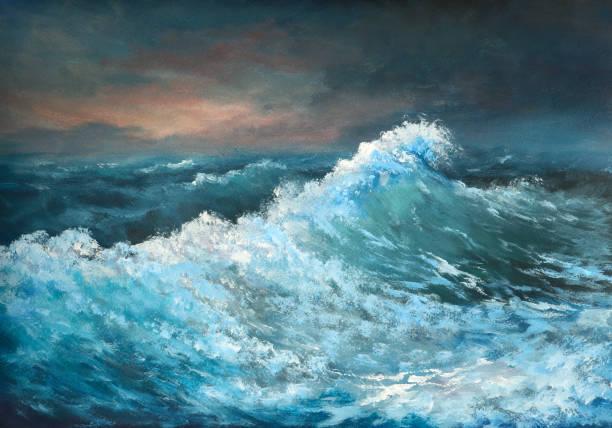 sea wave, oil painting sea wave, oil painting impressionism stock illustrations