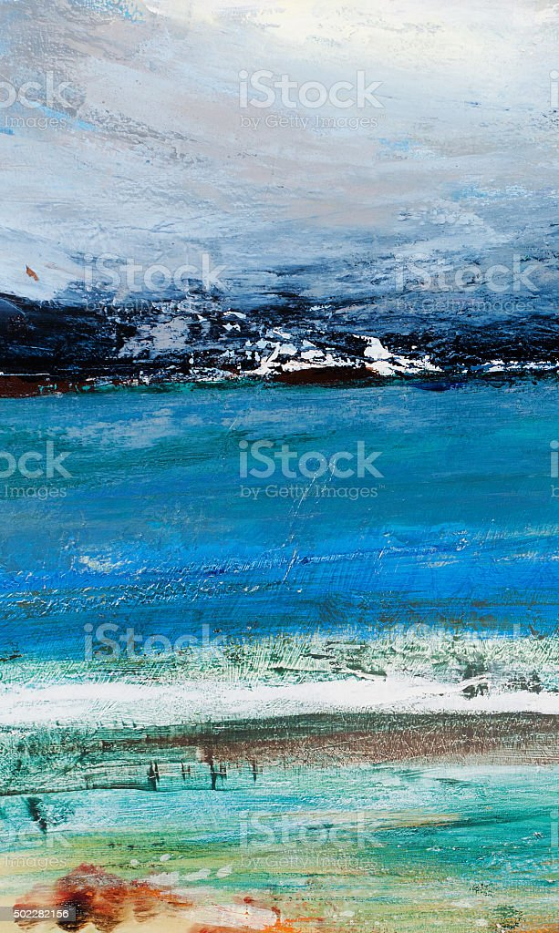 Seacoast, wave, beach vector art illustration