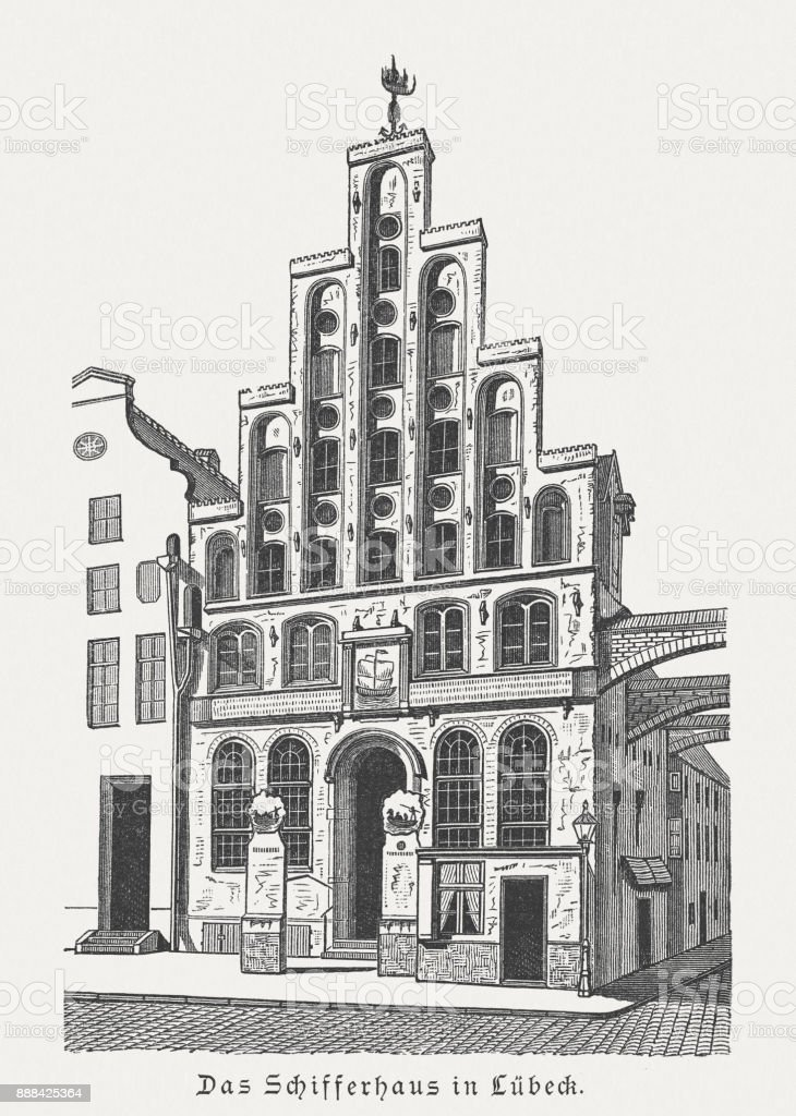 Seafarers' Guild (Schiffergesellschaft) in Lübeck, Germany, wood engraving, published 1887 vector art illustration