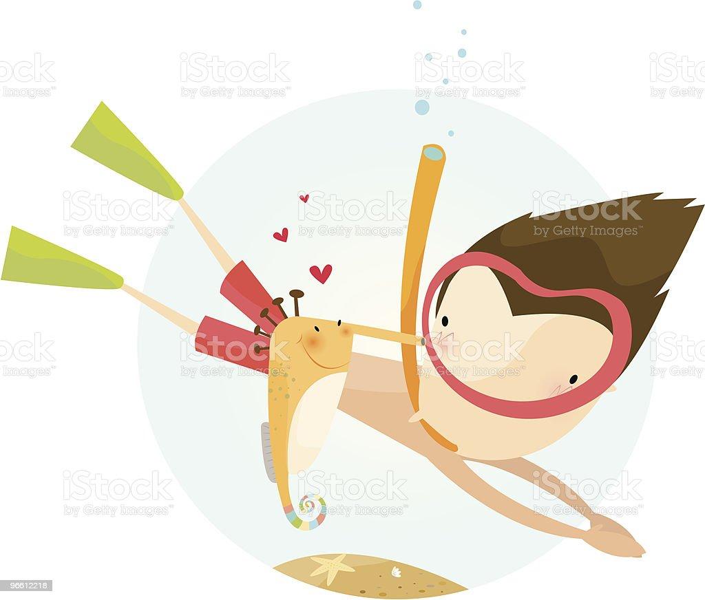 морской конек на любовь - Векторная графика В полный рост роялти-фри