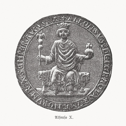 Seal of Alfonso X of Castile, wood engraving, published 1893