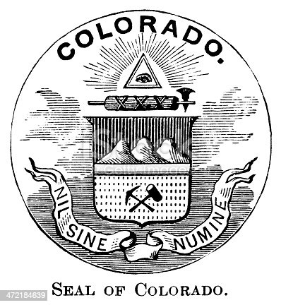 Antique engraved image of the state seal of Colorado.