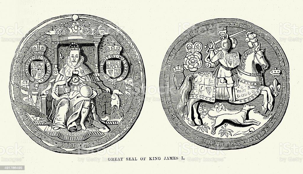 Seal of King James I vector art illustration