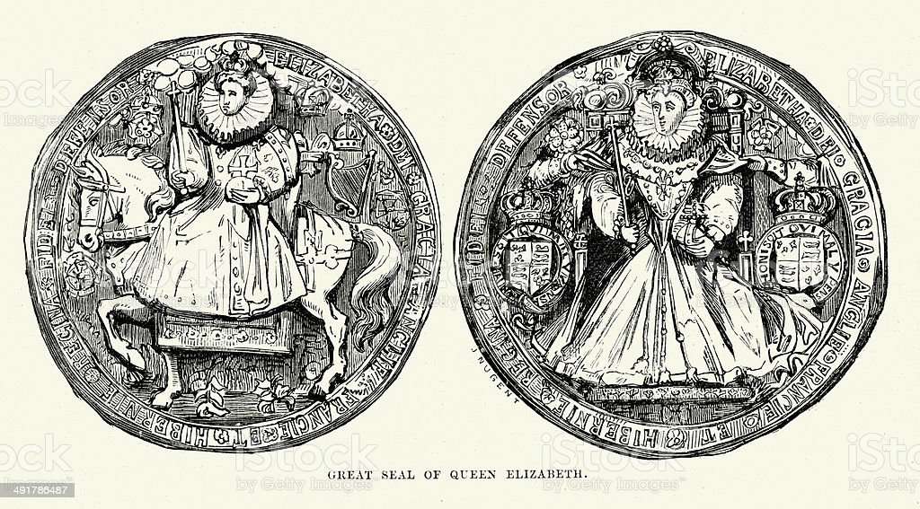 Seal of Queen Elizabeth I vector art illustration