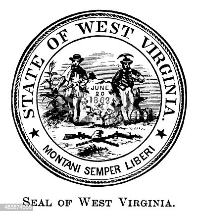 Antique engraved image of the state seal of West Virginia.