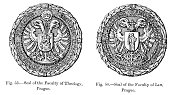 Seals of the Faculties of Theology and Law at the  University of Paris