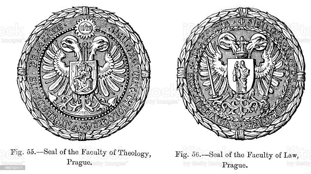 Seal - The University of Prague vector art illustration